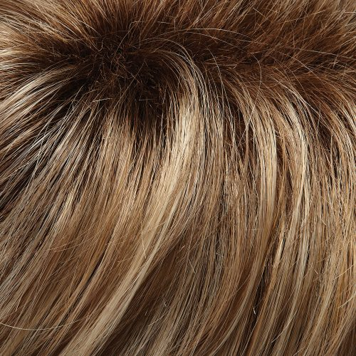 12FS8 - Light Golden Brown and Light Natural Golden Blonde and Pale Natural Gold Blonde Blend Shaded with Medium Brown Root