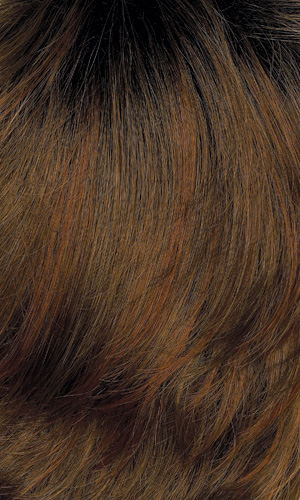 12GR - Golden brown with light auburn highlights and dark brown roots
