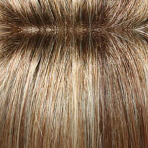 14/26S10 - Light Gold Blonde and Medium Red-Gold Blonde Blend Shaded with Light Brown Roots