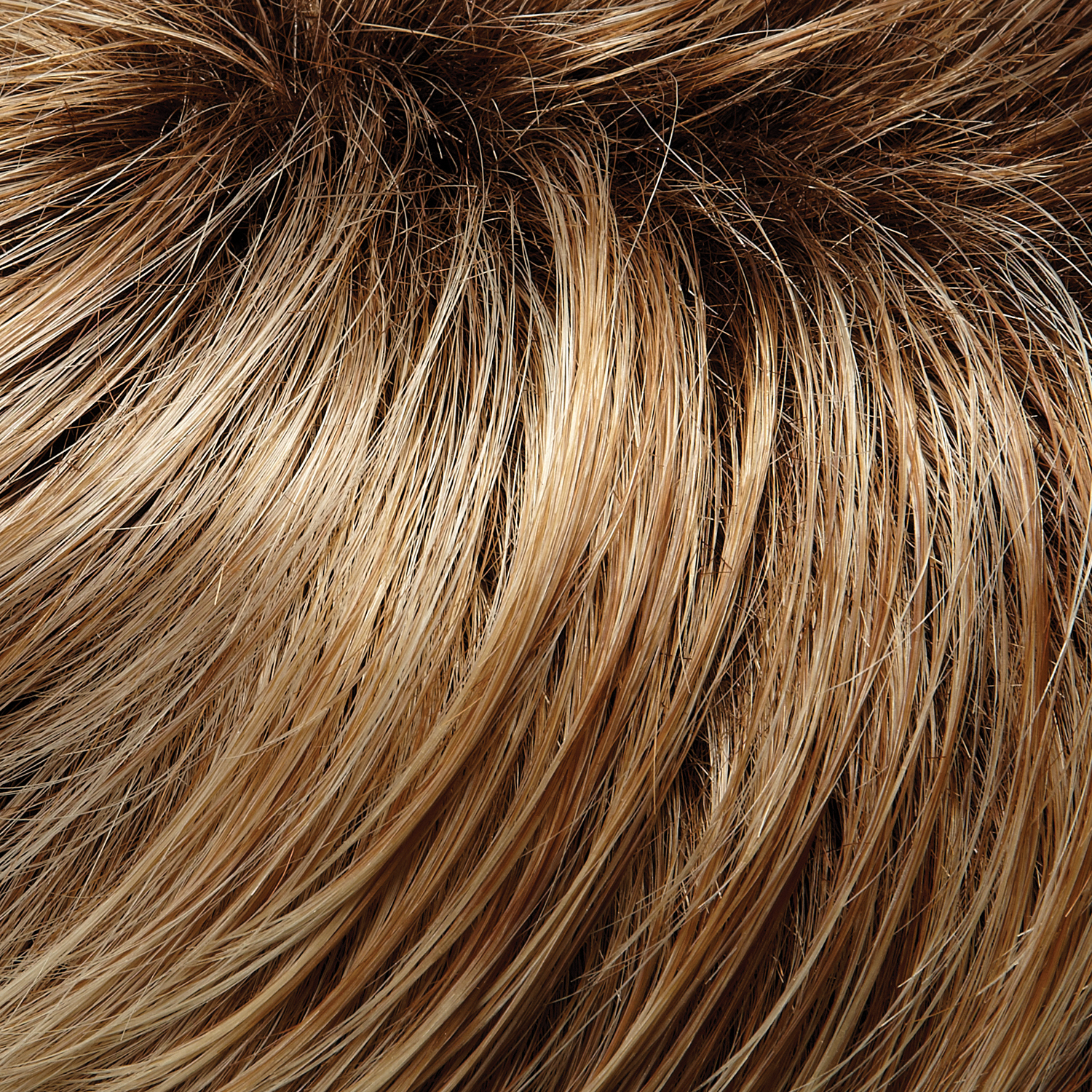 27T613S8 - Medium Natural Red-Golden Blonde & Pale Natural Gold Blonde Blend with Tips & Shaded Medium Brown Root